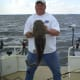 Gone Fishin Club Member Stacy with a small Flathead Catfish