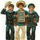 Vintage Christmas images: three young sailor boys