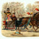 Vintage Christmas images: carriage with horses and people