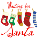"""Waiting for Santa"" Christmas stockings clip art."