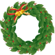 Holly wreath with bell.