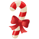 Candy cane with bow.