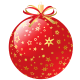 Red Christmas ornament with tiny gold stars.