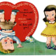 Free vintage heart with little kids clip art