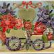 Vintage flower cart Valentine's Day clip art