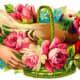 Vintage bird in a a flower basket Valentine flowers clip art
