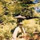 Artistically placed stone lantern