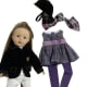 "Madame Alexander Girlz 18"" Equestrian Doll (off white breeches and classic black jacket with insignia) with additional play outfit in a purple flower design"