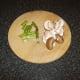 Chopped asparagus and sliced chestnut mushrooms
