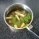Potato, babycorn and mangetout are added to cold, fresh chicken stock