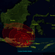 The 1815 Mount Tambora eruption. The red areas on the map show the thickness of volcanic ashfall