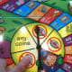 Close up of the spinner on the Money Bags Game.