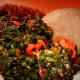 Amala (yam flour) and vegetable
