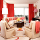 Coral and Off-White Theme.Window Drapes Throw, and Decorative Pillows with A Touch of Pink Lamp Shades.