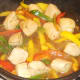 Chicken and peppers are simmered in sweet chilli sauce