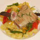 Perfectly cooked tuna steak is beautifully pink and juicy in the centre