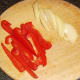 Sliced bell pepper and onion for stir frying