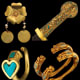 Variety of gold items with stone inlay. Image credit: Discover Magazine