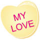 Valentine clip art: My Love yellow candy heart
