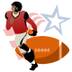 Football player with football and red, white and blue star clipart