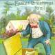 Vintage old man with box of baby Easter chicks