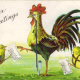Vintage rooster schoolteacher and baby chicks with their homework