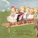 Vintage mother chicken leading her Easter chicks in song