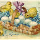Baby Easter chicks on a basket filled with eggs