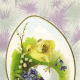 Vintage Easter greeting cards: baby chick on a broken eggshell filled with forget-me-nots