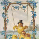 Vintage Easter chick in top hat in eggshell swing with baby chicks