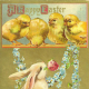 Vintage greeting cards: Easter bunny with four yellow baby chicks