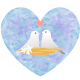 Lovebirds blue patterned heart clipart image