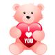 "Teddy bear with ""I Love You"" heart clip art image"