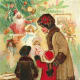 Vintage Christmas cards: Children looking in antique toy store window