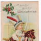 Free vintage Christmas cards: little boy riding an antique rocking horse