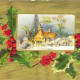 Free Victorian Christmas card with a church in a winter snow scene with a holly border on a textured gold background
