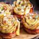 Potato roses with bacon
