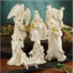 beautiful white nativity set by Lenox with intricate gold and green leaf edging - exquisite