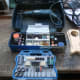 All the accessories for the dremel, including sanding disks.