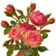 Vintage pink roses in ornate vase clip art