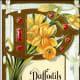 Daffodils vintage flower card