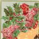 Hydrangea and snow scene vintage Christmas card