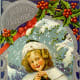 Little girl with Christmas holly