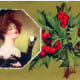 Woman with vintage Christmas holly