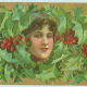 Woman with Christmas holly