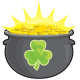 Pot with glowing gold and shamrock clip art