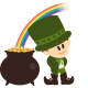 Leprechaun, pot of gold and rainbow clip art