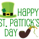 Happy St. Patrick's Day clip art with green top hat and leprechaun's pipe