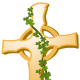 Ancient cross with shamrocks growing on it clip art