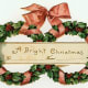 Free gift tag: two wreaths with large pink bow tying them together